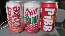 CHERRY COKE_ 7-UP_ PIBB_ ALUMINUM SODA CANS  -[READ DESCRIPTION]-