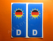 2x3D Sticker Resin Domed Euro GERMANY Number Plate with Flag Car Badge Adhesive