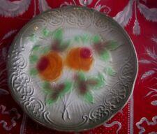 ancienne assiette barbotine decor de roses