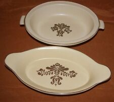 Pfaltzgraff Yellow and Brown Village VEGETABLE BOWL 6-11 AND AU GRATIN DISH 270