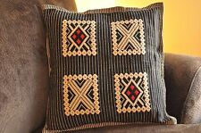 Black & Beige Handmade Cushion Cover Set (2 covers included)