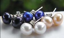 4Pairs 7-8mm White Pink Black Blue Akoya Cultured Pearl Silver Stud Earrings AAA