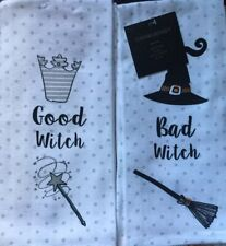Set Of 2 Good Bad Witch Festive Halloween Kitchen Dish Tea Towels