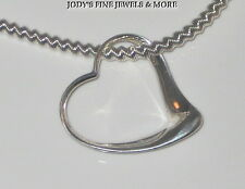 "SPECTACULAR ESTATE STERLING SILVER ZIG ZAG CHAIN HEART NECKLACE 20"" 3.25 mm"