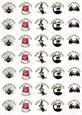 35 x Halloween inspired Labels Stickers Party bag sweet cones Trick or Treat