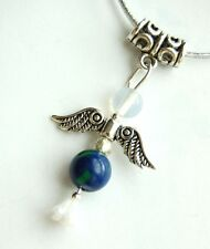Azurite & Malachite Crystal Guardian Angel Pendant on Silver Cord -