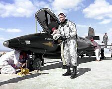 TEST PILOT MAJ. ROBERT WHITE NEXT TO X-15 AIRCRAFT - 8X10 NASA PHOTO (AA-309)