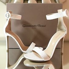 GIANVITO ROSSI PORTOFINO OPEN TOE WHITE ANKLE STRAP SANDALS PUMPS SHOES 37