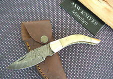Damascos Cuchillo con bolsa kamelknochen latón damastmesser Folding Knife nuevo