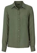 Stilvolle Bluse mit Rückenstickerei in Oliv - Gr. 38 - Q4558 - 966531