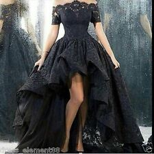 2017 Dark High low Black lace Gothic wedding Dresses Halloween Ball Bridal Gowns