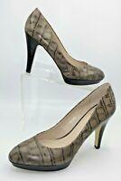 Franco Sarto Pumps 9.5 Brown/Taupe Leather Croc Print Slip-On Almond Toe Heels