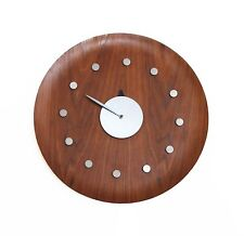 "Vintage George Nelson 18"" Walnut Bentwood Tray Clock Howard Miller Herman Miller"
