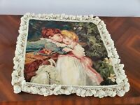 Vintage 20x20 in Needlepoint Pillow Cover BOY & GIRL Tasselled Trim
