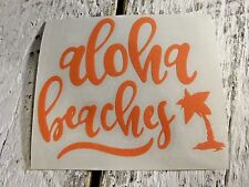 Beach Vinyl Decal Aloha for Stainless Tumblers, Coffee Travel Cups, Thermal Mug