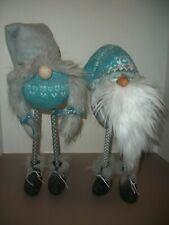 "Pair of 15"" Winter Stick Leg Gnome Elf Figures Decorations"