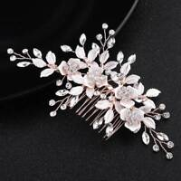 Fashion Rose Gold Hair Combs Crystal Flower Leaf Bridal Wedding Hair Accessories