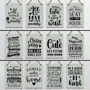 Metal Hanging signs plaques shabby chic Be Kind quotes family Love funny decor