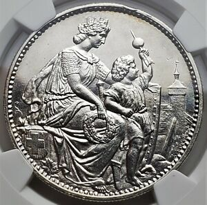5 Francs Switzerland 1865 Schaffhausen Shooting Festival MS62 / NGC Only 10.000!