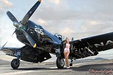 Wings of Angels Malak Pin Up Print Ashten Goodenough in Lingerie WWII Corsair