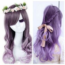 Harajuku Women Gradient Purple Curly Wavy Long Wigs Cosplay Party Full Hair New
