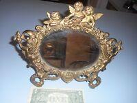 Antique Victorian Cast Brass 5 Cherabs Art Noveau Mirror Tabletop,Vanity,Easal