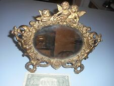 Antique Victorian Cast Brass Cherab Art Noveau Vanity Tabletop Mirror w/Easel