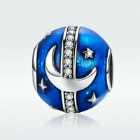 European S925 Sterling Silver Charm Bead Blue Star Galaxy With CZ For Bracelet