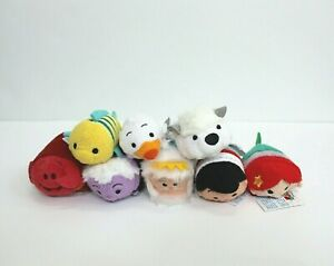 Lot of 8 Disney Mini tsum tsum The Little Mermaid Characters Plush 3.5""