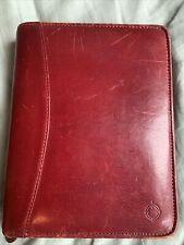 Franklin Covey Burgundy Red Leather Zip Around 6 Ring Zip Planner Organizer Book