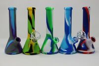 """6"""" Silicon Bubbler/Bong Water Smoking Pipe Assorted Colors W/glass Bowl And Dom"""