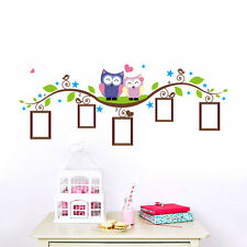 Love Owls  Photo Frame Branch For Kids Nursery Room Removable Wall Stickers