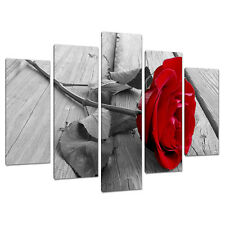 Set of 5 Part Floral Red Canvas Wall Art Pictures Flowers Prints 5005