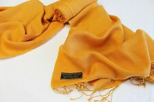 H78 NWT Orange Gold  Pashmina Silk Shawl/ Wrap Hand Woven In Nepal