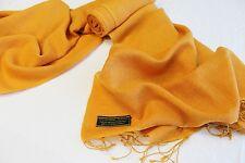 H78 NWT Orange Gold  Pashmina Silk Shawl/ Wrap Hand Woven In Nepal