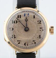Vintage 14k Oro Amarillo de Mujer Correa Manual Reloj W / Negro Piel Cordero