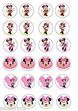 24X EDIBLE CUPCAKE CAKE TOPPERS MINNIE MOUSE DISNEY BIRTHDAY