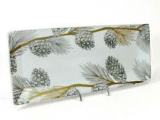 """St. Nicholas Square PINE BOUGHS & CONES 13"""" Treat Tray Cookie Platter Pinecone"""