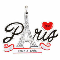 Paris France & Eiffel Tower Personalized Christmas Ornament OR1293