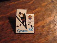 Salt Lake City Pin - Vintage 2002 Winter Olympics Qwest Snow Ski Lapel Hat Pin