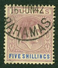SG 156 Bahamas 5/- lilac & blue. Very fine used CAT £100