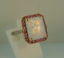 14K Yellow Gold Over Fire Opal Pink Ruby Engagement Wedding Ring For Gift 2.85Ct