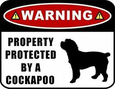 Warning Property Protected by a Cockapoo (SILHOUETTE) Laminated Dog Sign