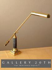 GORGEOUS! MARBLE BRASS SWING ARM DESK LAMP! Contemporary Modern Fluorescent Vtg