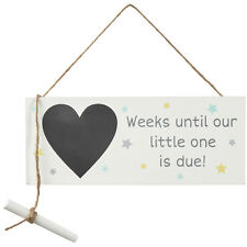 New Baby White Wooden Countdown Sign – Plaque Pregnancy Chalkboard Days Until