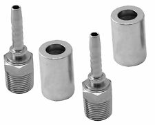 "2 Sets High Pressure Washer ¼"" Hose End Fittings Ferrule & Male BSPT 60cone 3/8"""