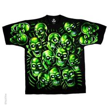 New Liquid Blue Green Skull Pile Double Sided T Shirt