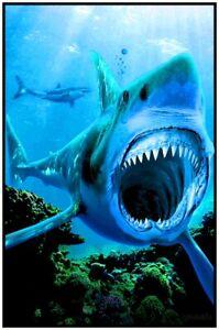 """SHARK ATTACK  BLACKLIGHT POSTER - 23"""" X 35"""" FLOCKED"""
