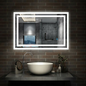 LED Bathroom Mirror Lights Touch Switch Sensor Demister Pad Mirrors by Aica