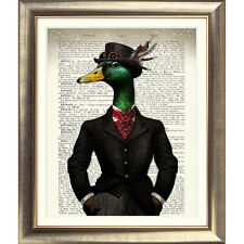 DIZIONARIO Wall Art Print antico libro pagina Bird Vintage Old Duck Steampunk